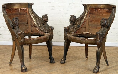 PAIR EARLY 19TH C. ITALIAN GONDOLA FORM CHAIRS