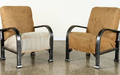 PAIR FRENCH POLISHED IRON CHAIRS C.1940