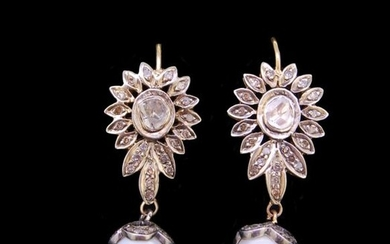 PAIR OF DIAMOND AND CULTURED PEARL DROP EARRINGS,...