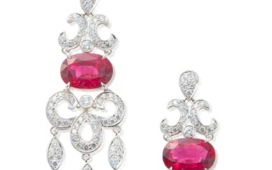 PAIR OF RUBELLITE AND DIAMOND PENDANT-EARRINGS, SIFEN CHANG