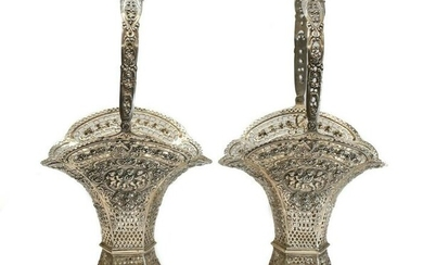 Pair German 800 Silver Decorative Pierced Baskets