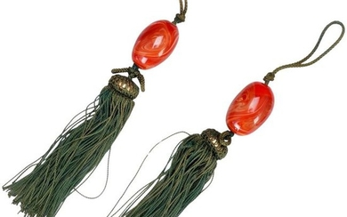 Pair Japanese Glass Faux Carnelian Scroll Weights
