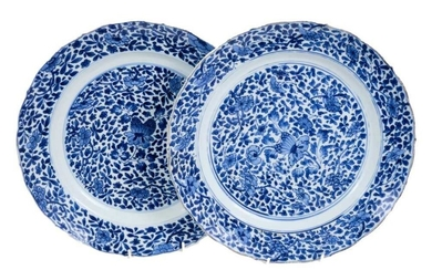 Pair of 18th century Chinese blue and white chargers, Chenghua six character marks
