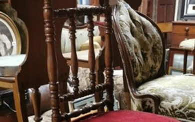 Pair of 19th C. oak and upholstered prie duex chairs.