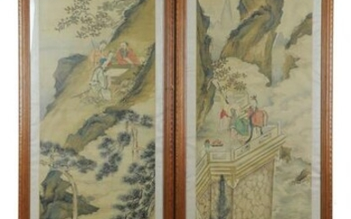Pair of Chinese Landscapes on Silk, 19th Century