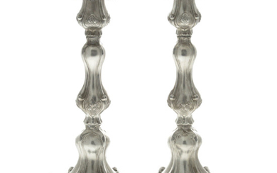Pair of Large and Impressive Sterling Silver Candlesticks.