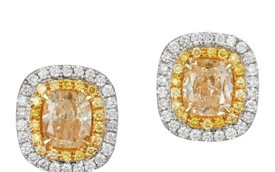 Pair of Two-Color Gold, Yellow Diamond and Diamond Earrings