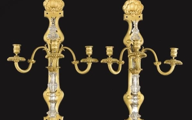 Pair of gold bronze and carved crystal sconces S. XIX.