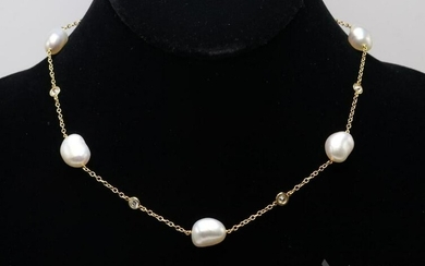 Peretti T&C 18KY Diamond and Pearl Necklace