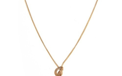 Property of a lady - a modern 9ct yellow gold knot & tassel ...