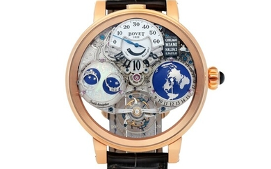 RECITAL 18, REF 180003 LIMITED EDITION PINK GOLD SEMI-SKELETONIZED WORLD TIME TOURBILLON WRISTWATCH WITH JUMPING HOURS, RETROGRADE MINUTES, DOUBLE MOON PHASES AND POWER RESERVE INDICATION CIRCA 2015
