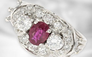 Ring: high-quality, white-gold vintage ruby/brilliant gold ring, approx. 1,1ct diamonds