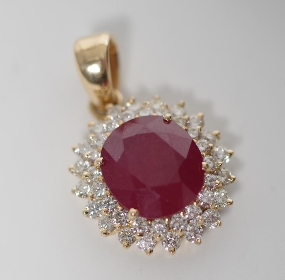 Ruby, diamond and 18ct yellow gold cluster pendant , approx ...