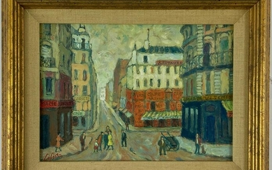 """Rue St. Sebastian"" Oil by Lefort"
