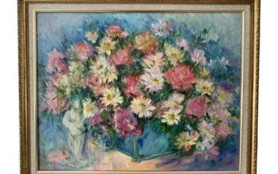 STILL LIFE ROSE DAISIES BOUQUET PAINTING NICOLLS