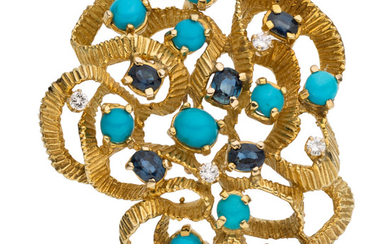 Sapphire, Diamond, Turquoise, Gold Pendant-Brooch The pendant-brooch features oval-shaped...