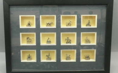 Set of 12 Chinese Silver Animal Miniatures