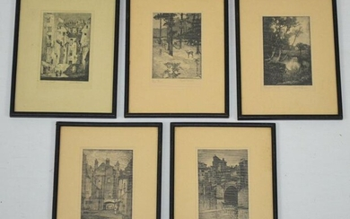 Set of 5 Signed Fred Larson Etchings