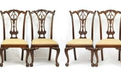 Set of eight Chippendale style mahogany chairs with