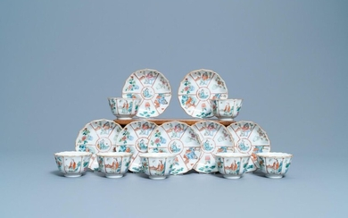 Seven Chinese famille rose cups and saucers, Xianfeng mark and of the period