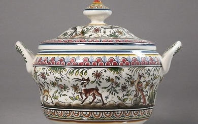 Signed Hand Painted Porcelain Tureen w/ Cover, Portugal