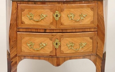 Small Louis XV style chest of drawers made of rosewood veneer, violet and boxwood fillets opening by two drawers. Inlaid with friezes and ormolu ornamentation. Topped by a red marble shelf from the Pyrenees. French work. Period: 18th century. A 2001...