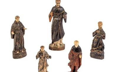 Spanish Carved Santos St Anthony & Francis Figures