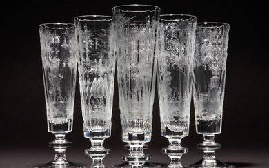 Star glass cut collection, six glasses / sparkling wine glasses, crystal glass, deep glass cut (6)