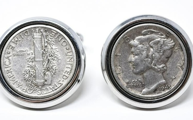Sterling Silver & Liberty Coin Pair Cufflinks