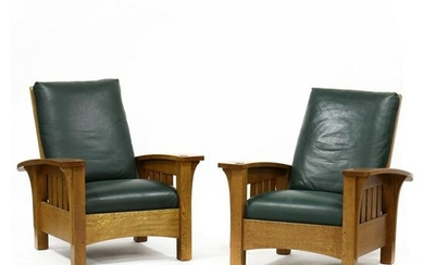 Stickley, Pair of Contemporary Oak and Leather Morris