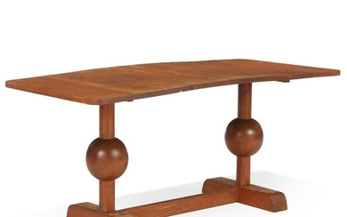 Swedish grace: Patinated solid pine coffee table with orb shaped legs. H. 57 cm. L. 127 cm. W. 60 cm.