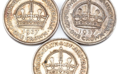 THREE SILVER 1937 CROWNS; total wt. 84.67g.