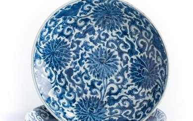 TWO CHINESE BLUE AND WHITE PORCELAIN LARGE DISHES, KANGXI...