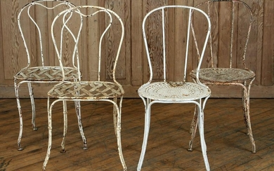 TWO PAIRS OF FRENCH IRON GARDEN CHAIRS C.1940
