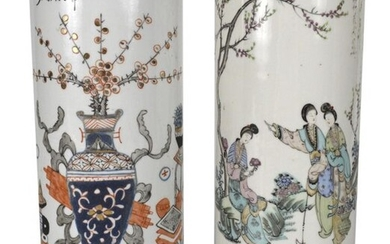 TWO PORCELAIN FIGURES AND ANTIQUES HAT STANDS, China...
