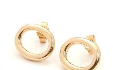 SOLD. Toftegaard: A pair of 14k gold earstuds. L. 1.4 cm. Weight app. 4.5 g....