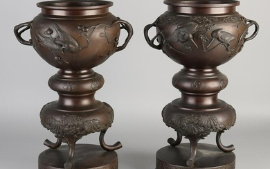 Two 19th century Japanese bronze flower pots with bird