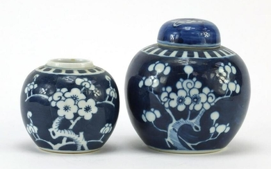 Two Chinese blue and white porcelain ginger jars, one