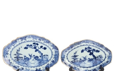 Two Chinese export blue and white porcelain dishes. 18th century. L. 29.5 and 33 cm. (2)