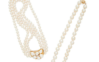Two Gold and Cultured Pearl Necklaces