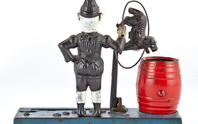 Two Trick Dog Cast Iron Solid Base Mechanical Banks