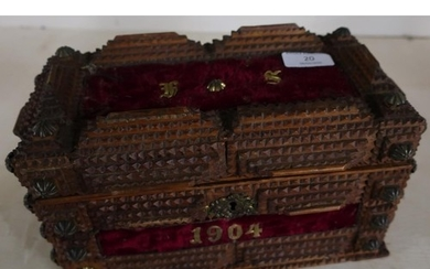 Unusual folk art wooden casket with hinged top and mirrored ...
