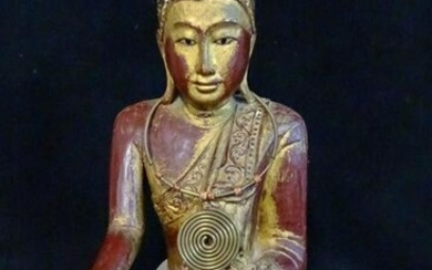 "VINTAGE CARVED WOOD BUDDHA 16""H"
