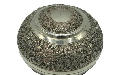 STERLING SILVER ROUND KEEPSAKE TRINKET BOX 4""