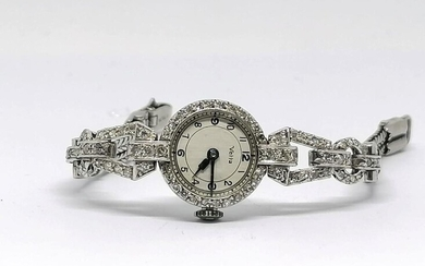 White and gold diamond bracelet watch Signed Vetta circa 1930930