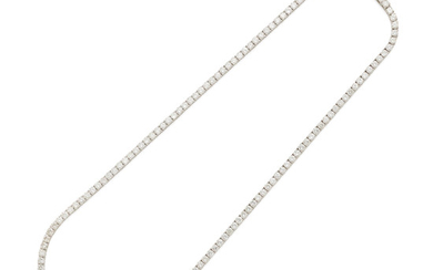 a white gold and diamond riviere necklace
