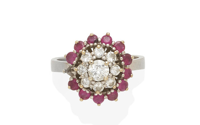 a white gold, ruby and diamond ballerina ring