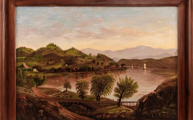 """AMERICAN SCHOOL, 19th Century, Vessels navigating a river in an expansive mountain landscape., Oil on canvas, 26"""" x 36"""". Framed 33""""..."""