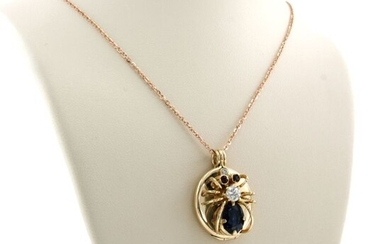 14 kt. Pink gold - Necklace with pendant - 0.20 ct Diamond - Ruby, Sapphire