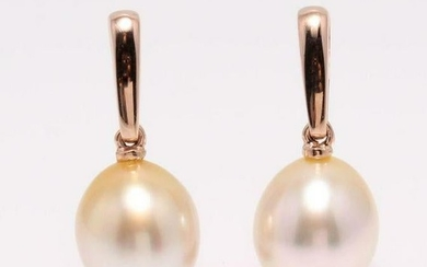 14 kt. Rose Gold - 9x10mm Golden South Sea Pearl Drops